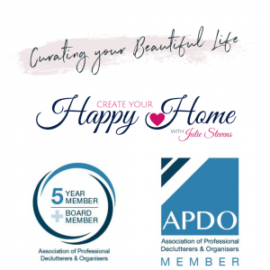 Logos for Curating your Beautiful Life, Create your Happy Home and APDO